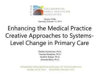 Enhancing the Medical Practice Creative Approaches to Systems-Level Change in Primary Care