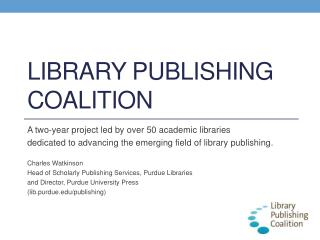 Library publishing coalition