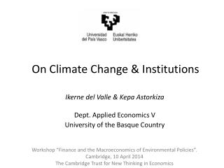 On Climate Change & Institutions