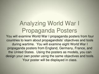 Analyzing World War I Propaganda Posters