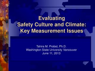 Evaluating  Safety Culture and Climate: Key Measurement Issues