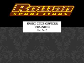 Sport Club Officer Training