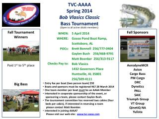 TVC-AAAA Spring 2014 Bob Vlasics Classic Bass Tournament