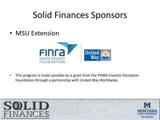 Solid Finances Sponsors