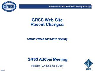GRSS Web Site Recent  Changes