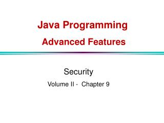 Java  Programming Advanced Features