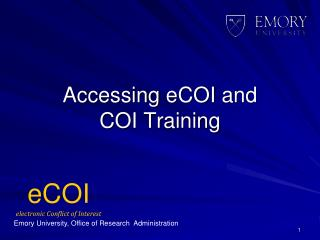 eCOI electronic Conflict of Interest