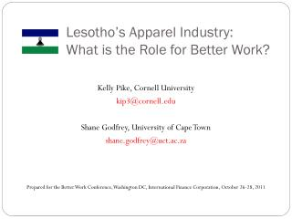Lesotho's Apparel Industry:  What is the Role for Better Work?