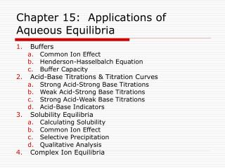 chapter 15:  applications of aqueous equilibria