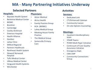 MA - Many  Partnering Initiatives Underway