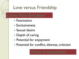 Love versus Friendship