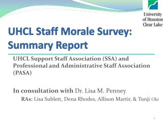 UHCL Staff Morale Survey: Summary Report
