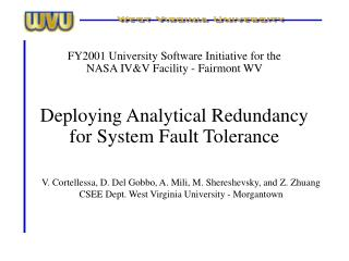 deploying analytical redundancy for system fault tolerance