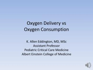 Oxygen Delivery  vs Oxygen  Consumption