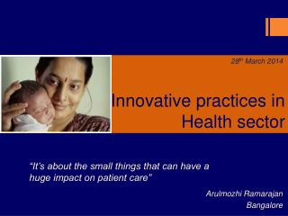 Innovative practices in  Health sector