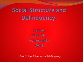 Social Structure and Delinquency: Family Schools Community Work
