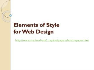 Elements of Style  for Web Design