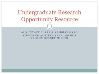 Undergraduate Research Opportunity Resource