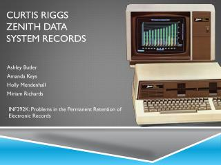 Curtis Riggs Zenith Data System Records