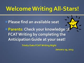 Welcome Writing All-Stars!