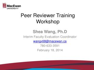 Peer  Reviewer  Training Workshop