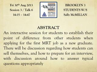 BROOKLYN 3 STUDENTS W/S Sally  McMILLAN