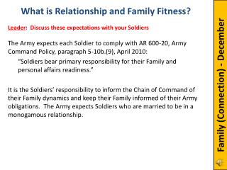 The Army expects each Soldier to comply with AR 600-20, Army Command Policy, paragraph 5-10b.(9), April 2010: