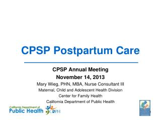 CPSP Postpartum Care