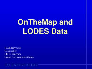 OnTheMap  and LODES Data