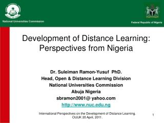 Development of Distance Learning: Perspectives from Nigeria