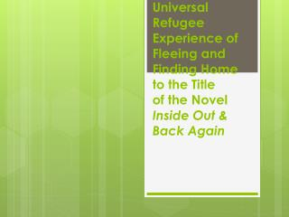 Connecting the Universal Refugee Experience of Fleeing and Finding Home to the Title of the Novel  Inside Out & Back Ag