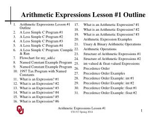 Arithmetic Expressions Lesson #1 Outline