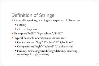 Definition of Strings