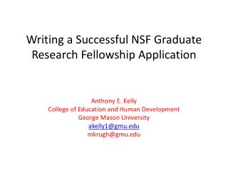 Writing a Successful NSF Graduate Research Fellowship Application
