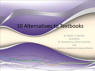 10 Alternatives to Textbooks