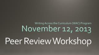 Peer Review Workshop