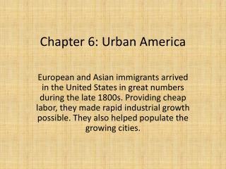 Chapter 6: Urban America