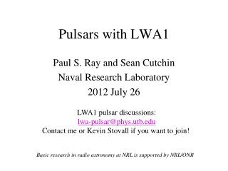 Pulsars with LWA1