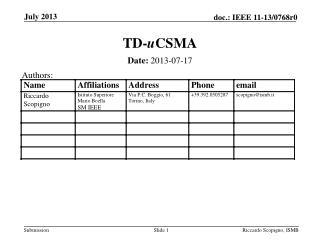 TD- u CSMA