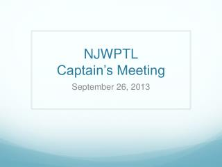 NJWPTL Captain's Meeting
