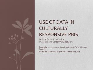 Use of Data in Culturally Responsive PBIS