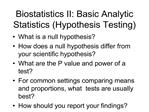 biostatistics ii: basic analytic statistics hypothesis testing