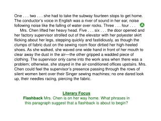 Literary Focus Flashback  Mrs. Chen is on her way home. What phrases in this paragraph suggest that a flashback is abou