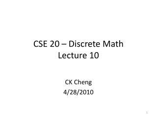 CSE 20 – Discrete Math Lecture 10