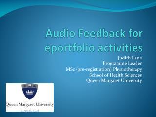 Audio Feedback for  eportfolio  activities