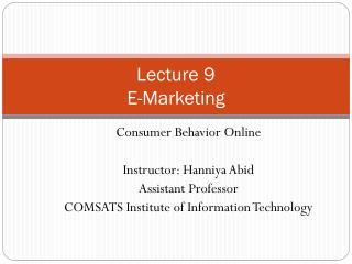 Lecture 9 E-Marketing