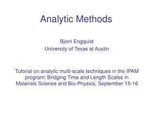 analytic methods