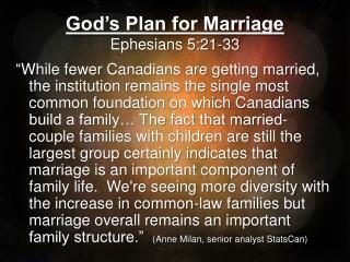 God's Plan for Marriage Ephesians 5:21-33