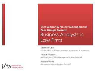user support  project management peer groups present: business analysts in law firms