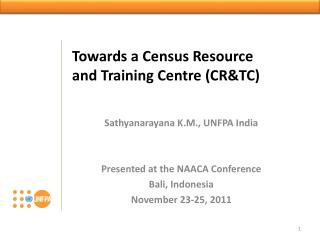 Towards a Census Resource and Training Centre (CR&TC)